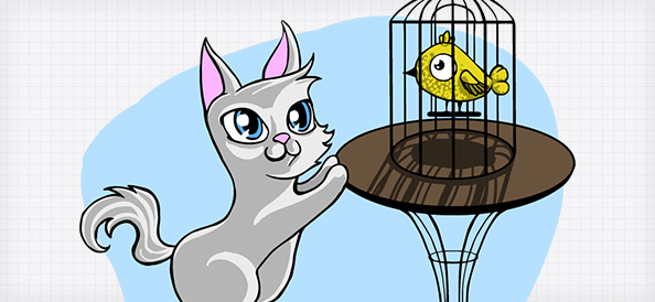 Vector Cat with Bird Cage