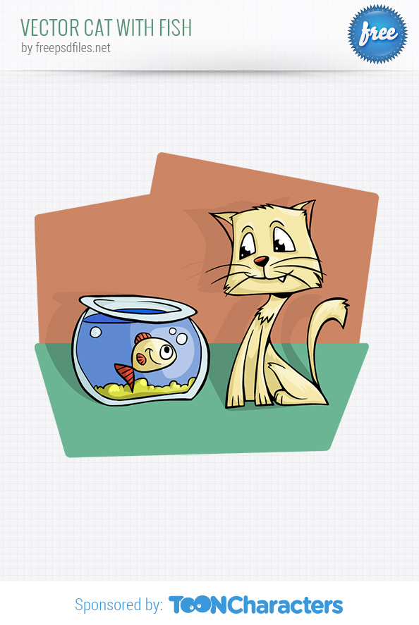Vector Cat with Fish