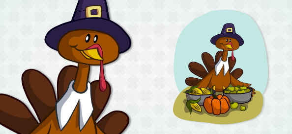 Vector Turkey with Food