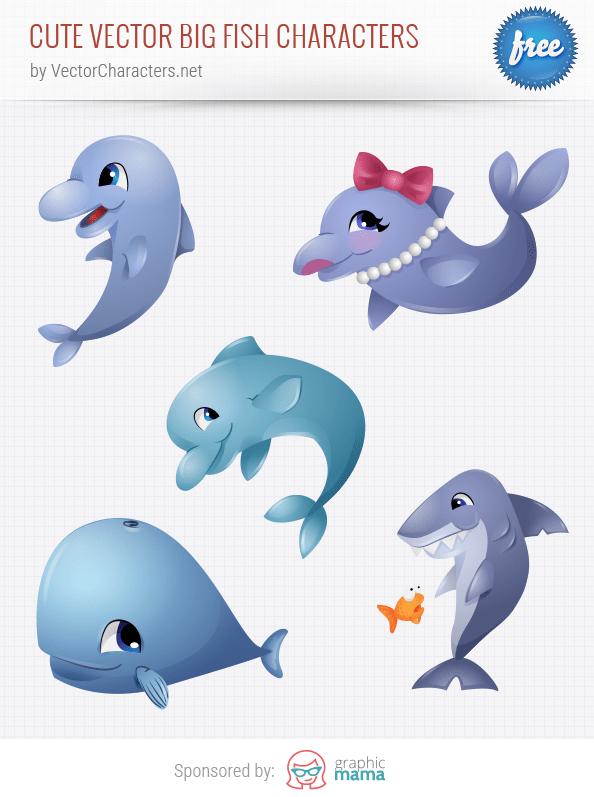 Cute Vector Big Fish Characters