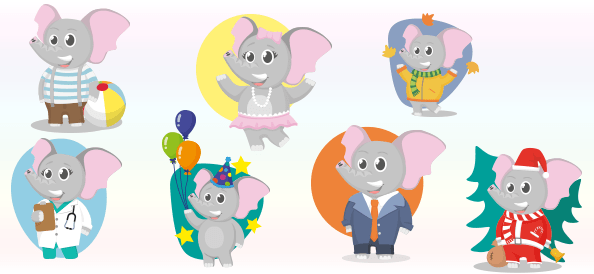 Vector Baby Elephant Characters