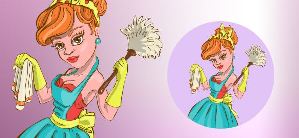 Cleaning Pin Up Girl