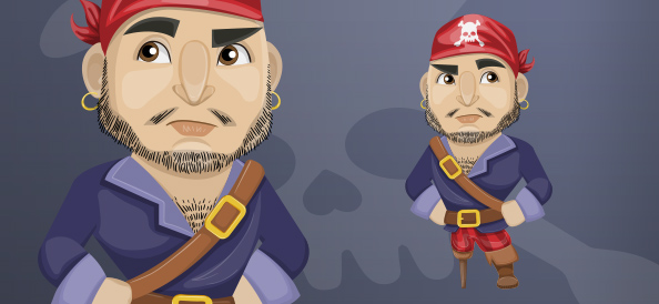 Buff Male Pirate with Peg Leg and Beard