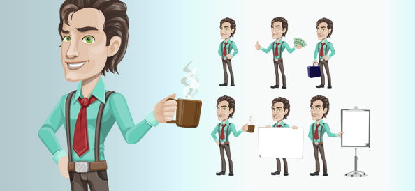 Successful Businessman Vector Character