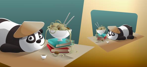 Vector panda character eating noodles