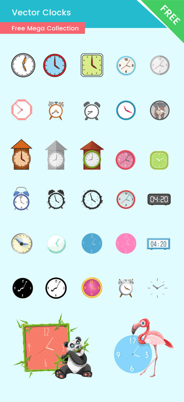 Clock Vectors - FREE Ultimate Collection