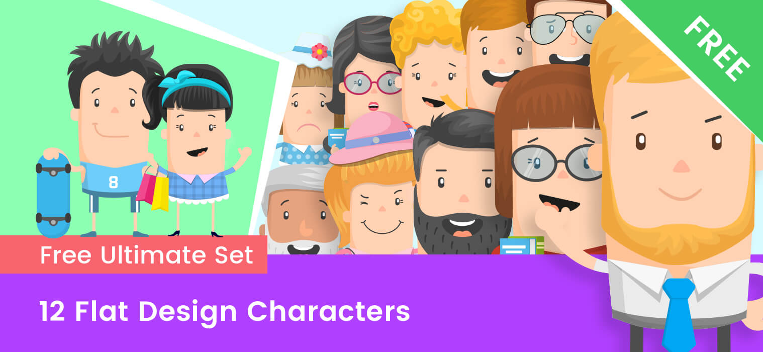 Free Flat Design Characters – Ultimate Set