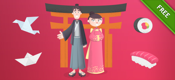 Vector Japanese Cartoon Characters