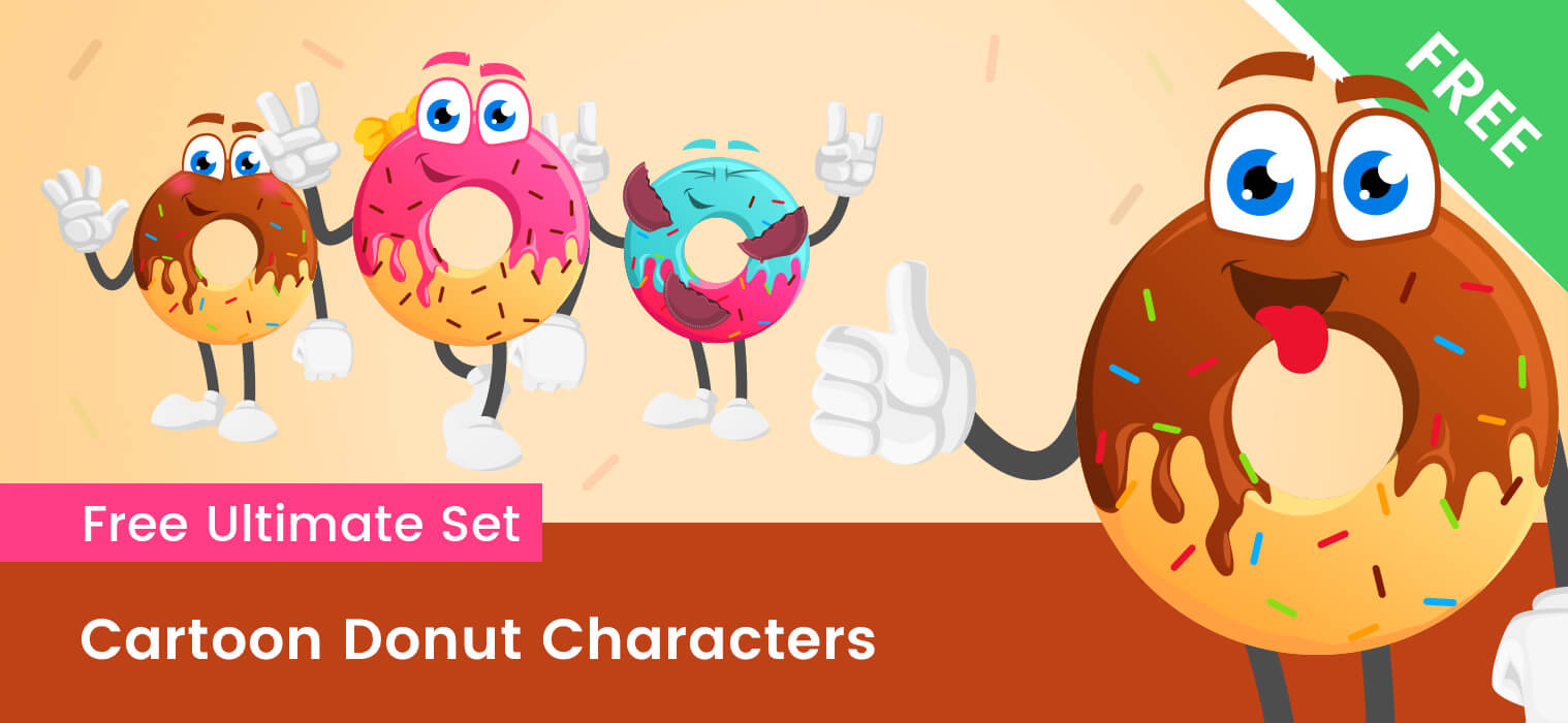 Cartoon Donut Vector Set