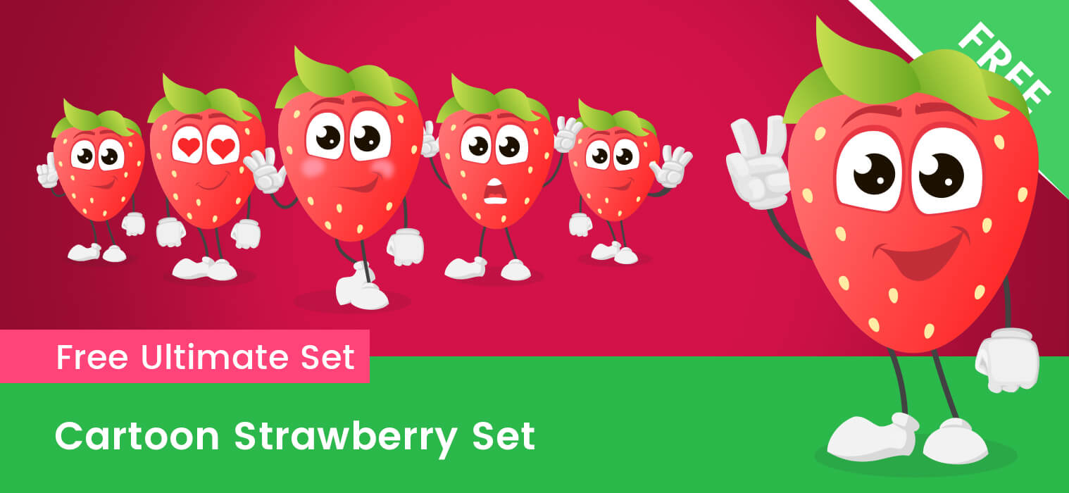 Cartoon Strawberry Free Vector Set