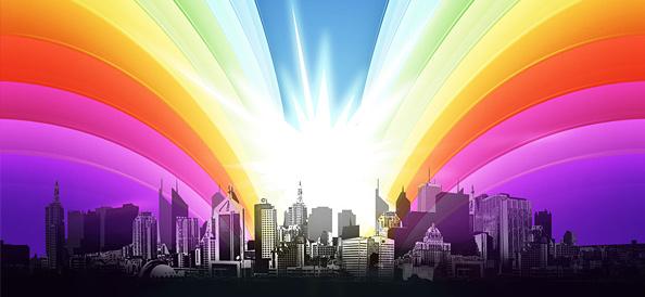 Urban City View with Shining Rainbow