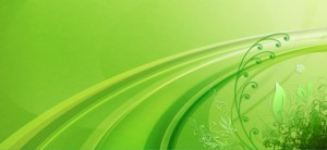 Abstract Green Background with Floral Elements