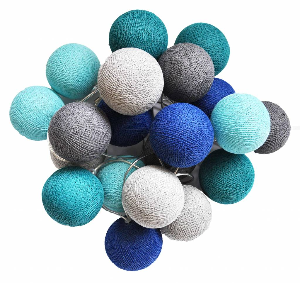 Bollen Lichtslinger Cotton Ball Lights Cotton Balls Lichtslinger Blauw Grijs