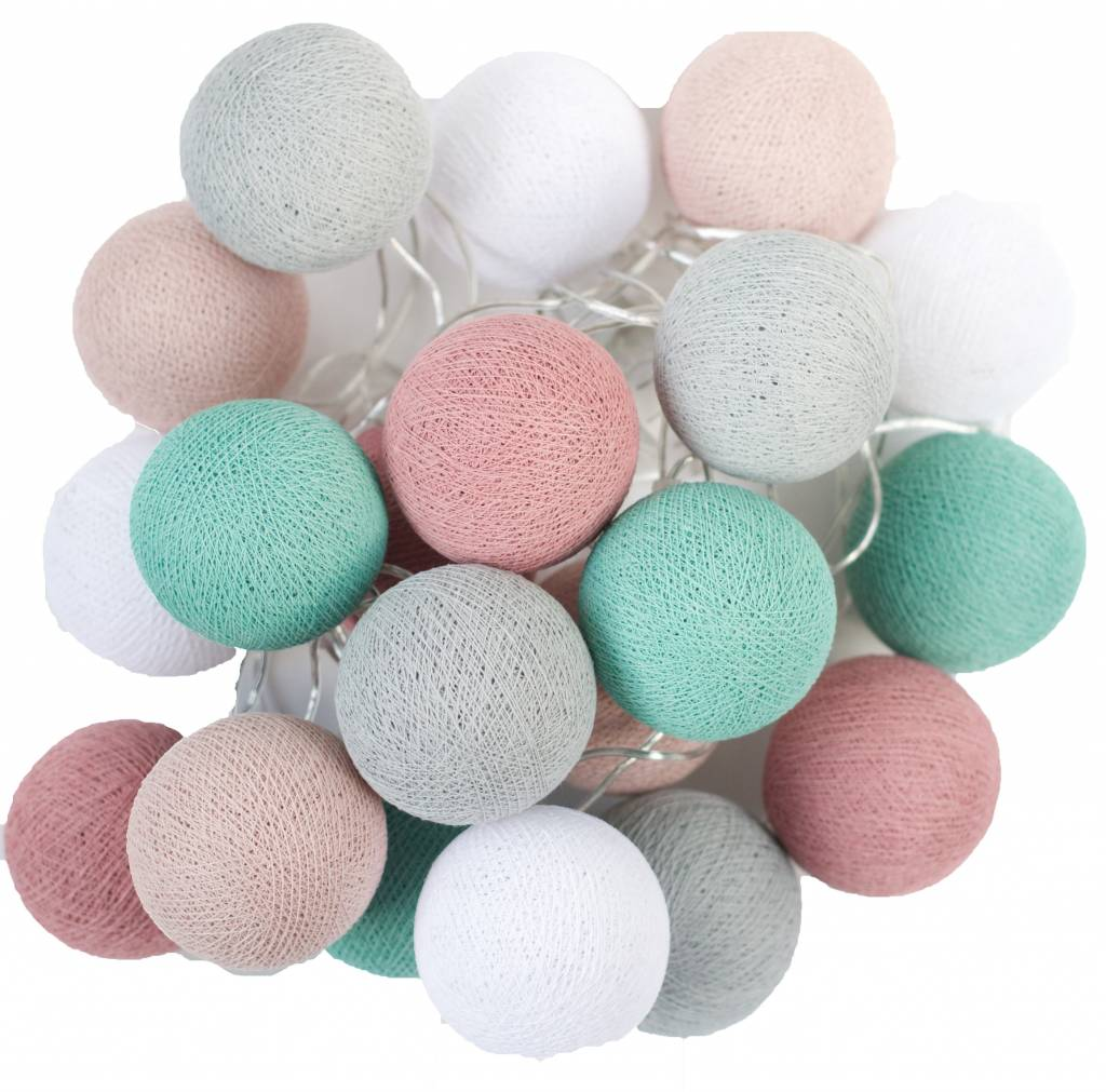 Bollen Lichtslinger Cotton Ball Lights Cotton Balls Lichtslinger Zeegroen Roze