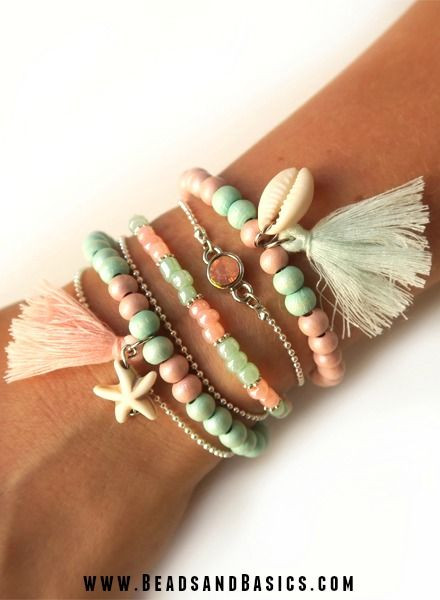Rood Wit Touw Armbandjes In Mint En Roze - Beads & Basics