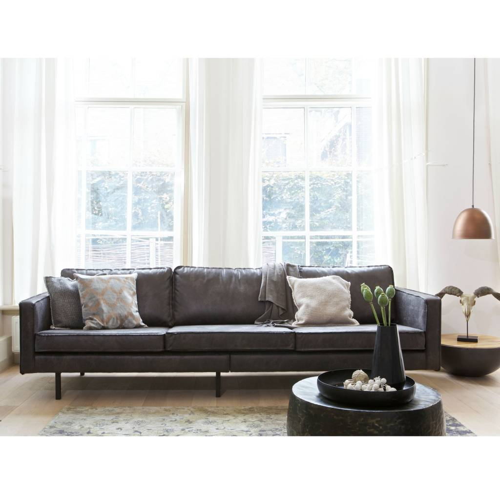 Sofa Schnelle Lieferung Sofa 3-seat Black Leather Rodeo 274x87x78cm - Lefliving.com