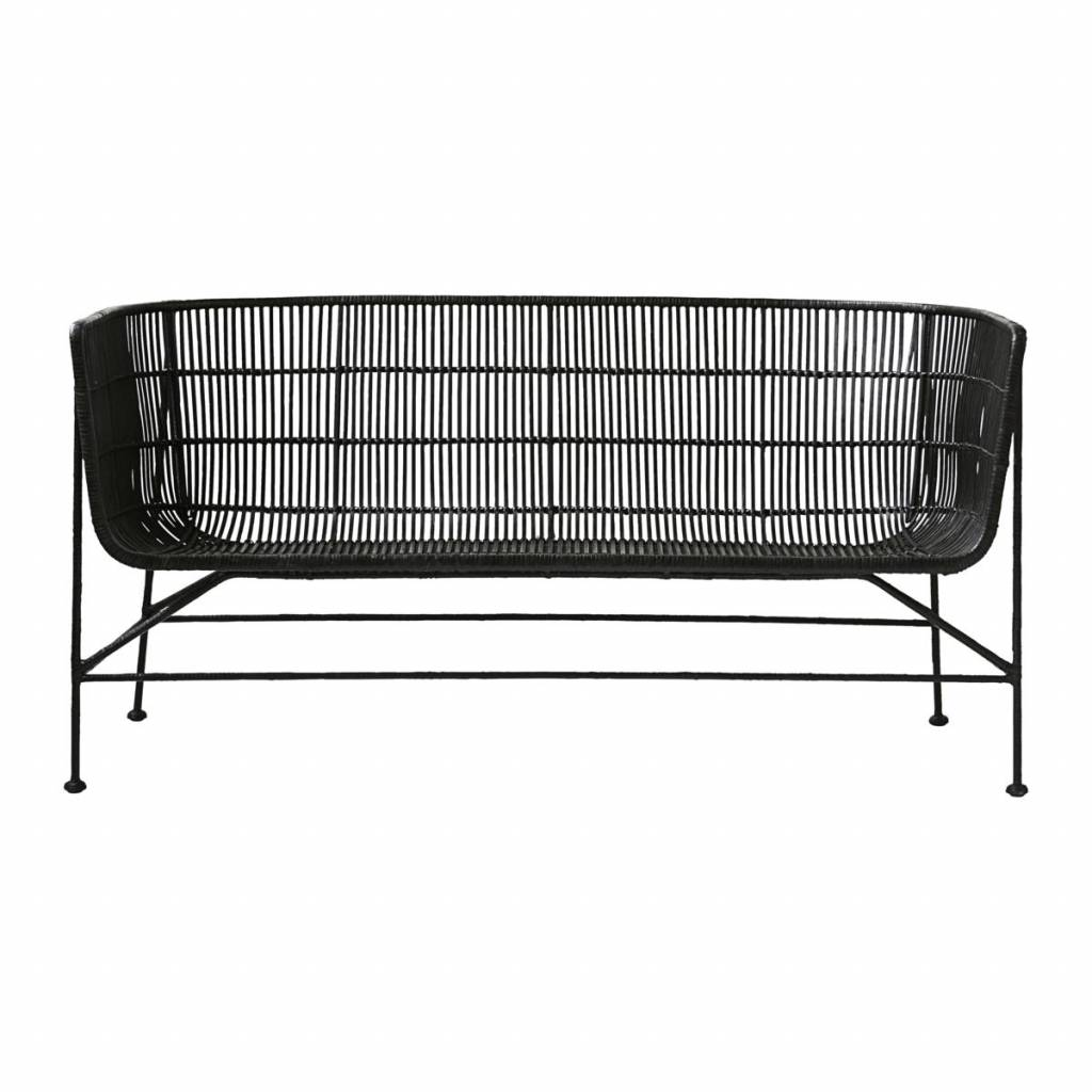 Bank Rattan Housedoctor Bank Coon Black Rattan 65 5x140x70cm