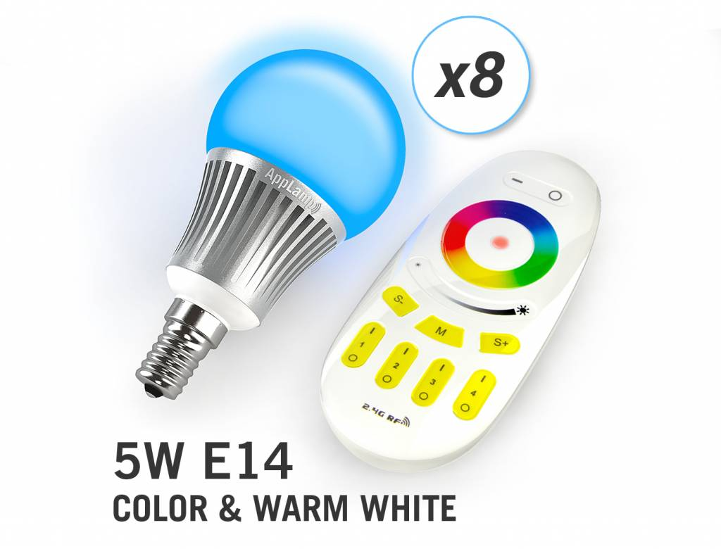 5 Watt Led Applamp Set Of 8 Rgbw 5 Watt E14 Led Light Bulbs Remote Control