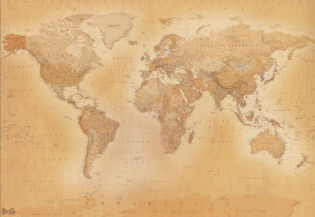 Hd Wallpaper Of World Fotobehang Wereldkaart Oud 366 X 253 Cm Multi