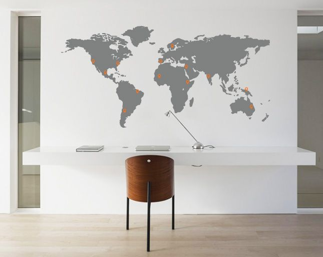 Wall Decal World Map Pin Points - Walldesign56 Wall Decals - Murals