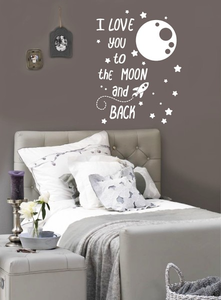 Zwart Wit Posters Bestellen Muursticker I Love You To The Moon And Back - Walldesign56.com