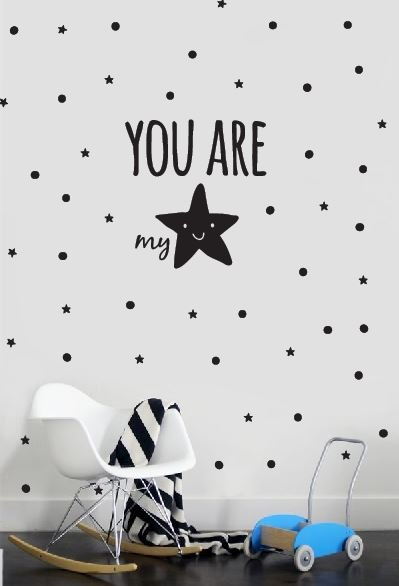 Zwart Wit Posters Bestellen Muursticker You Are My Star - Walldesign56.com