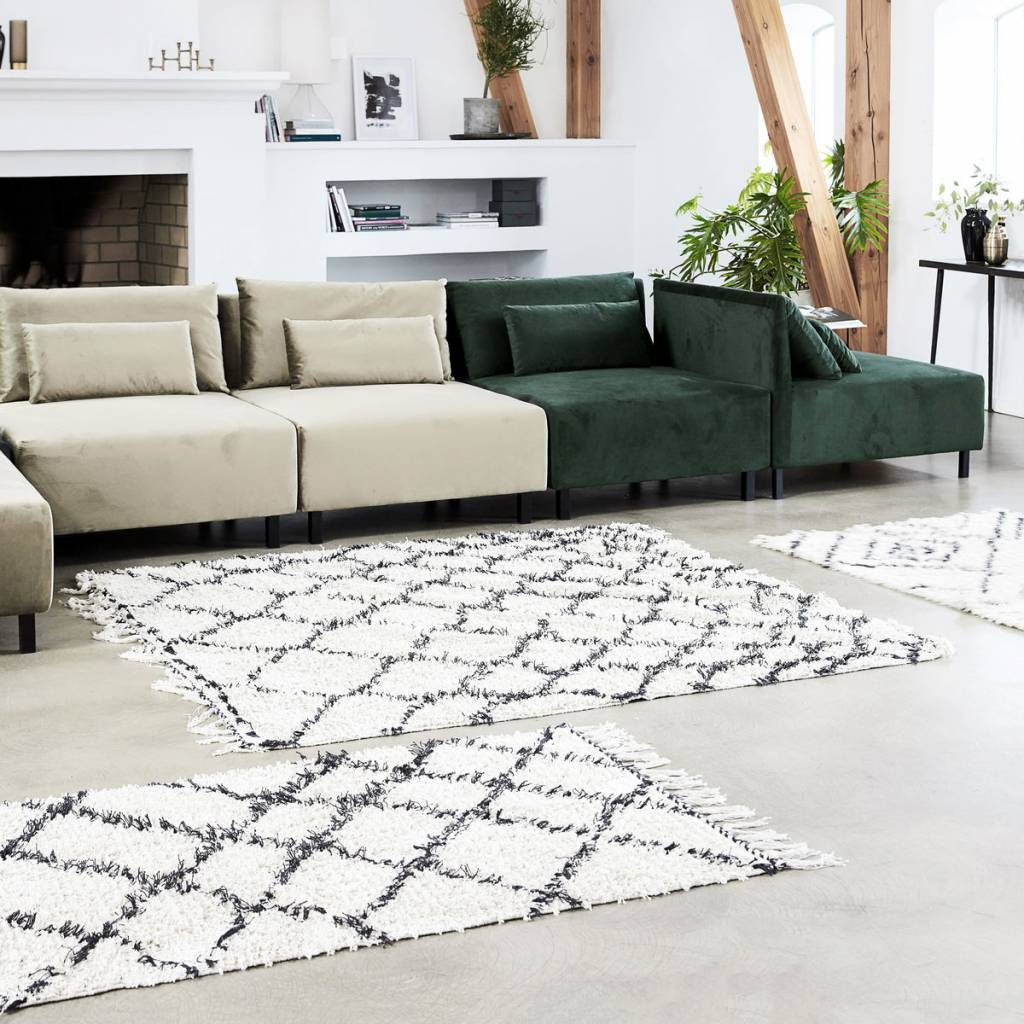 Teppich 180x180 House Doctor Zena Rug 180x180 Cm Black White Cotton