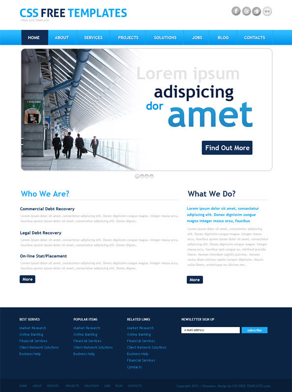 Business Website Css Template In Blue Color Style