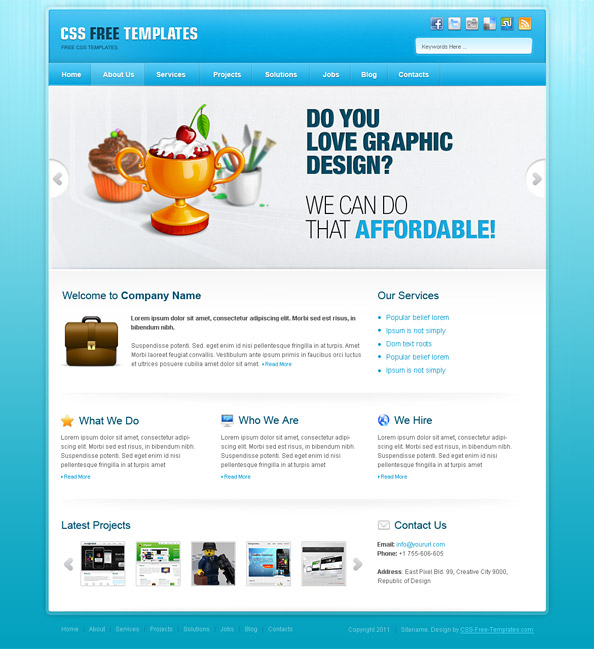 Free portfolio website css template in blue color scheme for Free portfolio website templates