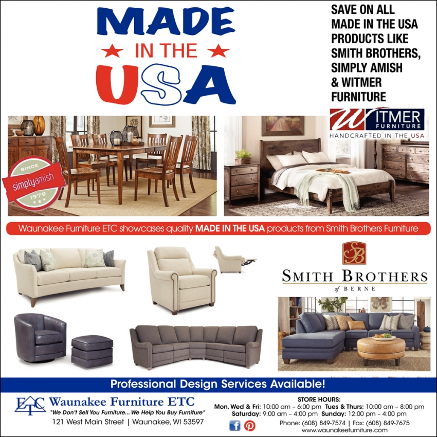 Professional Deisgn Services Available Waunakee Furniture Etc