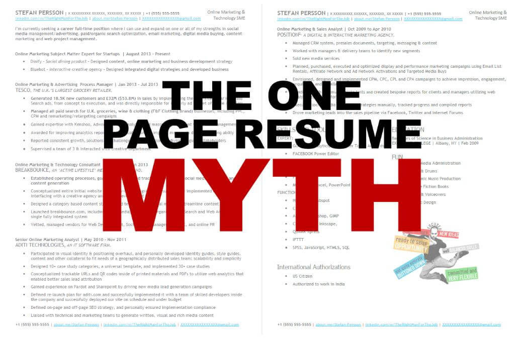 The One Page Resume Myth