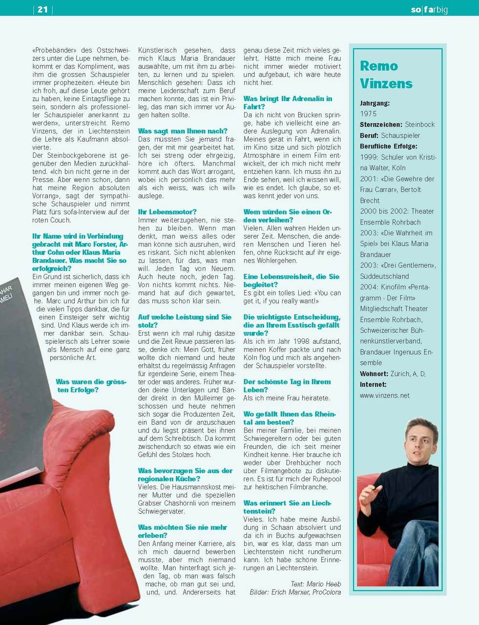 Sofa Magazin Press The New Official Remo Vinzens Website