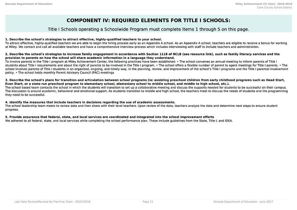 miley-achievement School Performance Plan Secondary