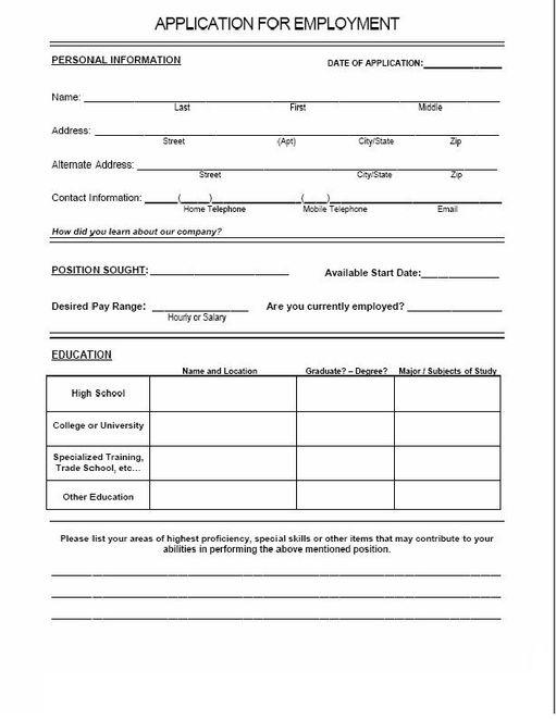 Blank Employment Applications – Blank Employment Application