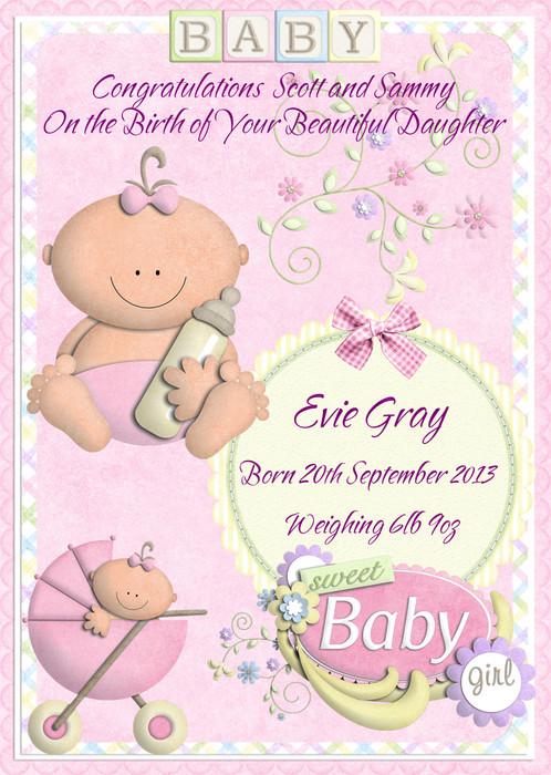 Cute Baby Girl Birth Personalised Greeting Card
