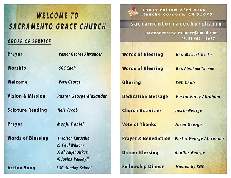 Sacramento Grace Church Grand Opening - church program