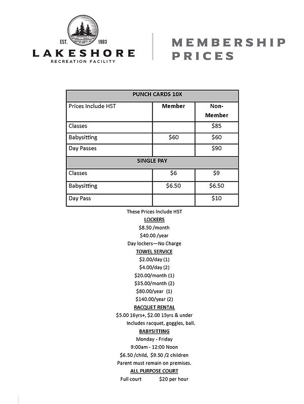 lakeshorerecreation MEMBERSHIP