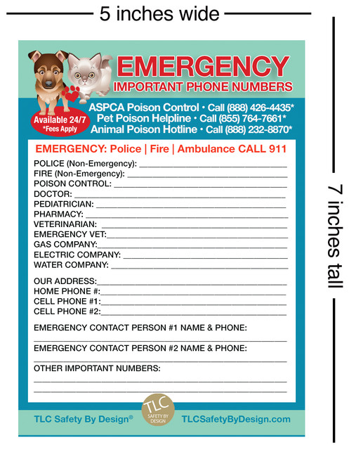 TLC Safety By Design Downloadable Emergency Contact Card Graphic