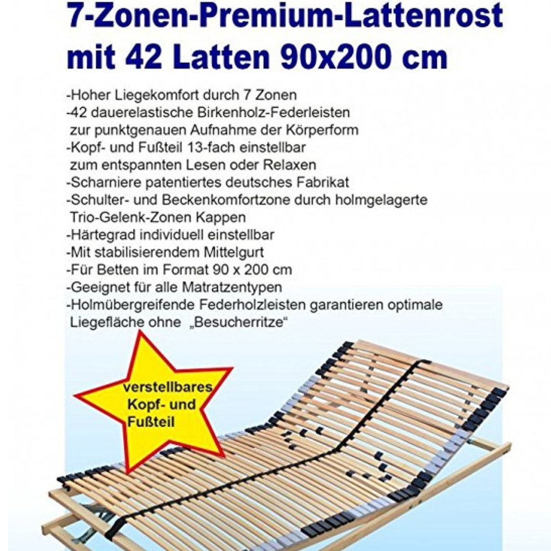 7 Zone Slatted Frame With 42 Slats 90 X 200 Cm Website
