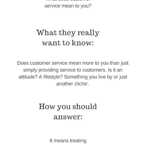 what does great customer service mean to you interview question