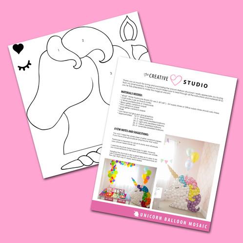 Unicorn digital BALLOON MOSAIC™ design template - unicorn template