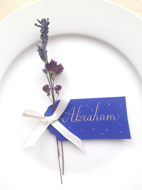 Purple Flower Wedding Place Setting Name Card / Name Tag
