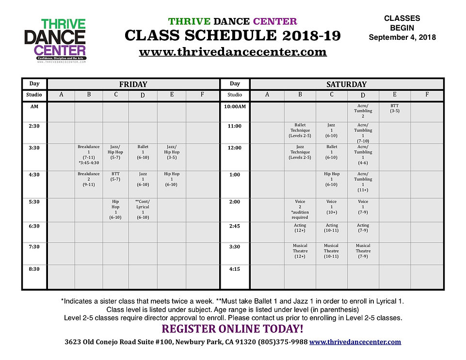 Class Schedule - Thrive Dance Center