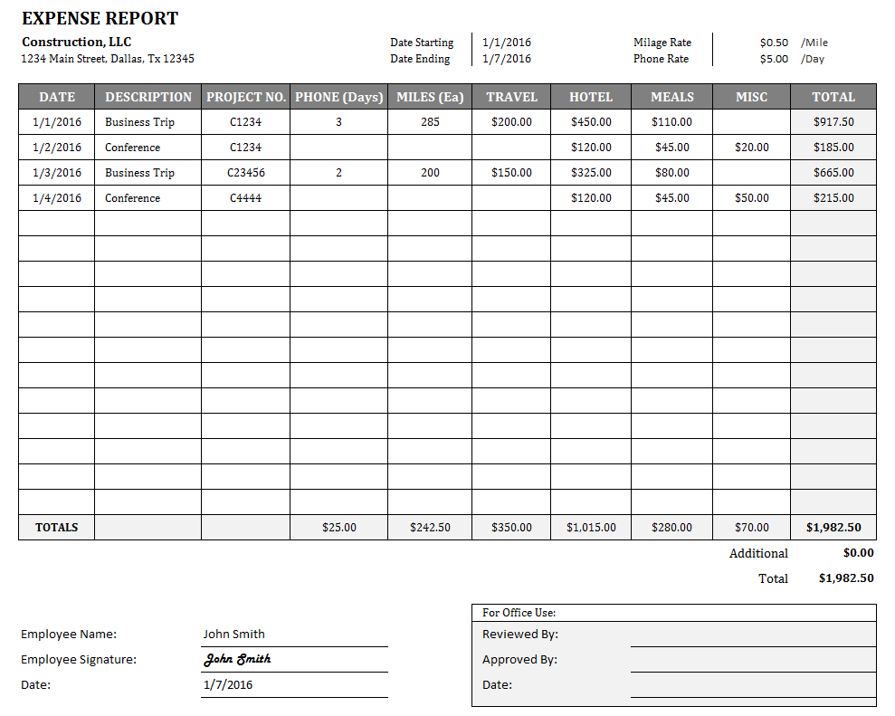expenses report template excel