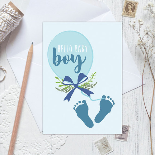 New baby card, baby announcement, baby boy announcement, new baby