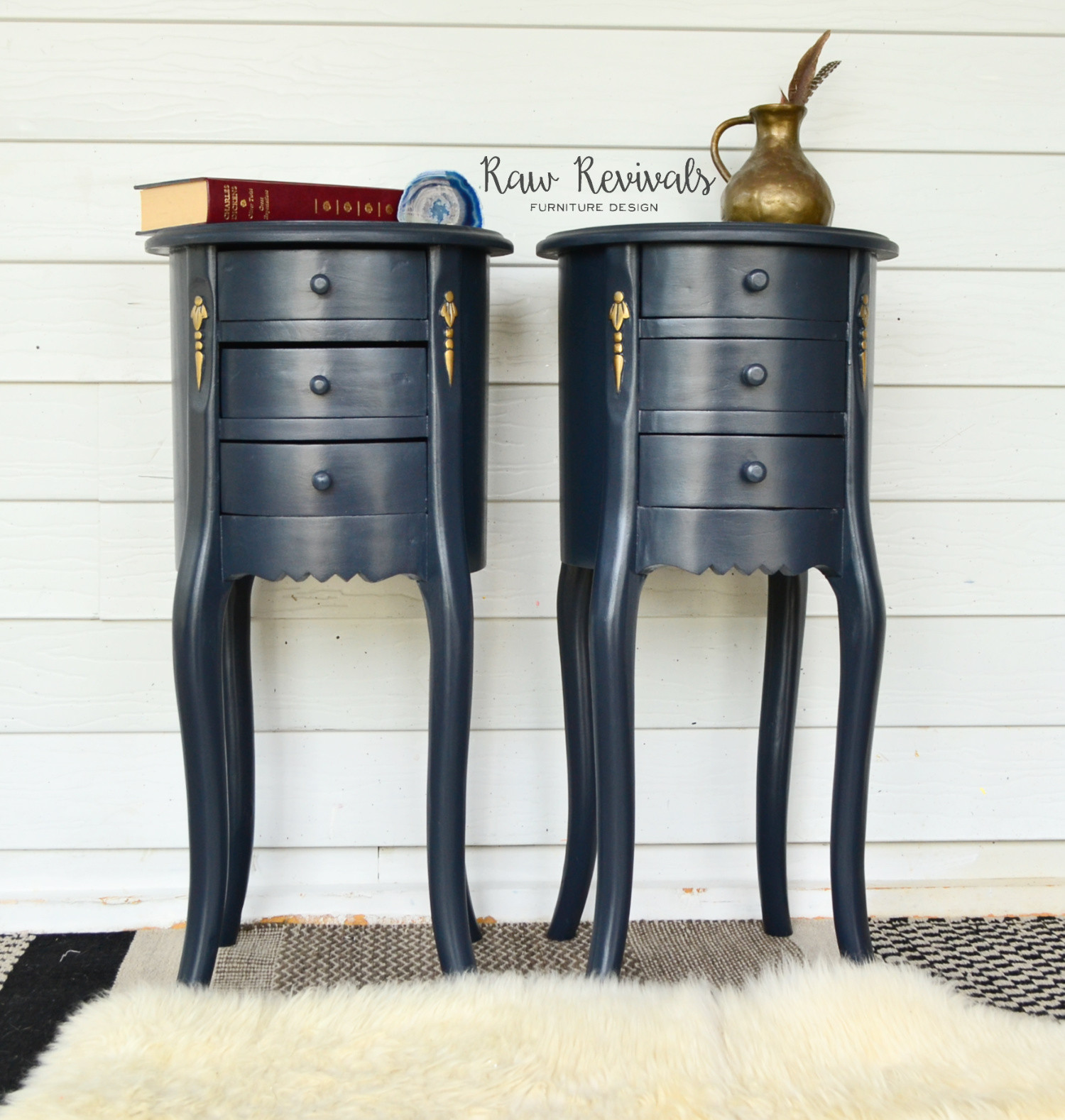 Provincial Bedside Tables Vintage Tall Provincial Midnight Blue Round Bedside Tables With