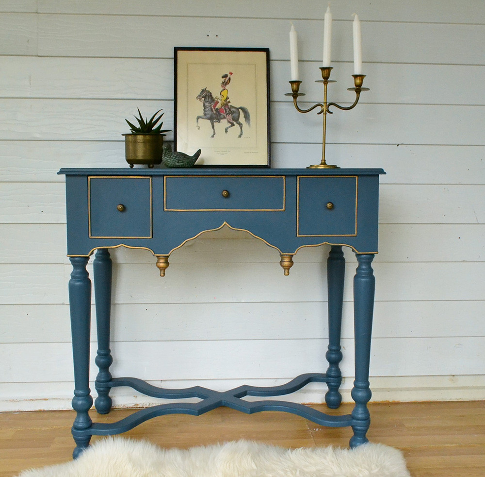 Vintage Hall Table Vintage Inspired Peacock Blue Hall Table With Gold Gilding