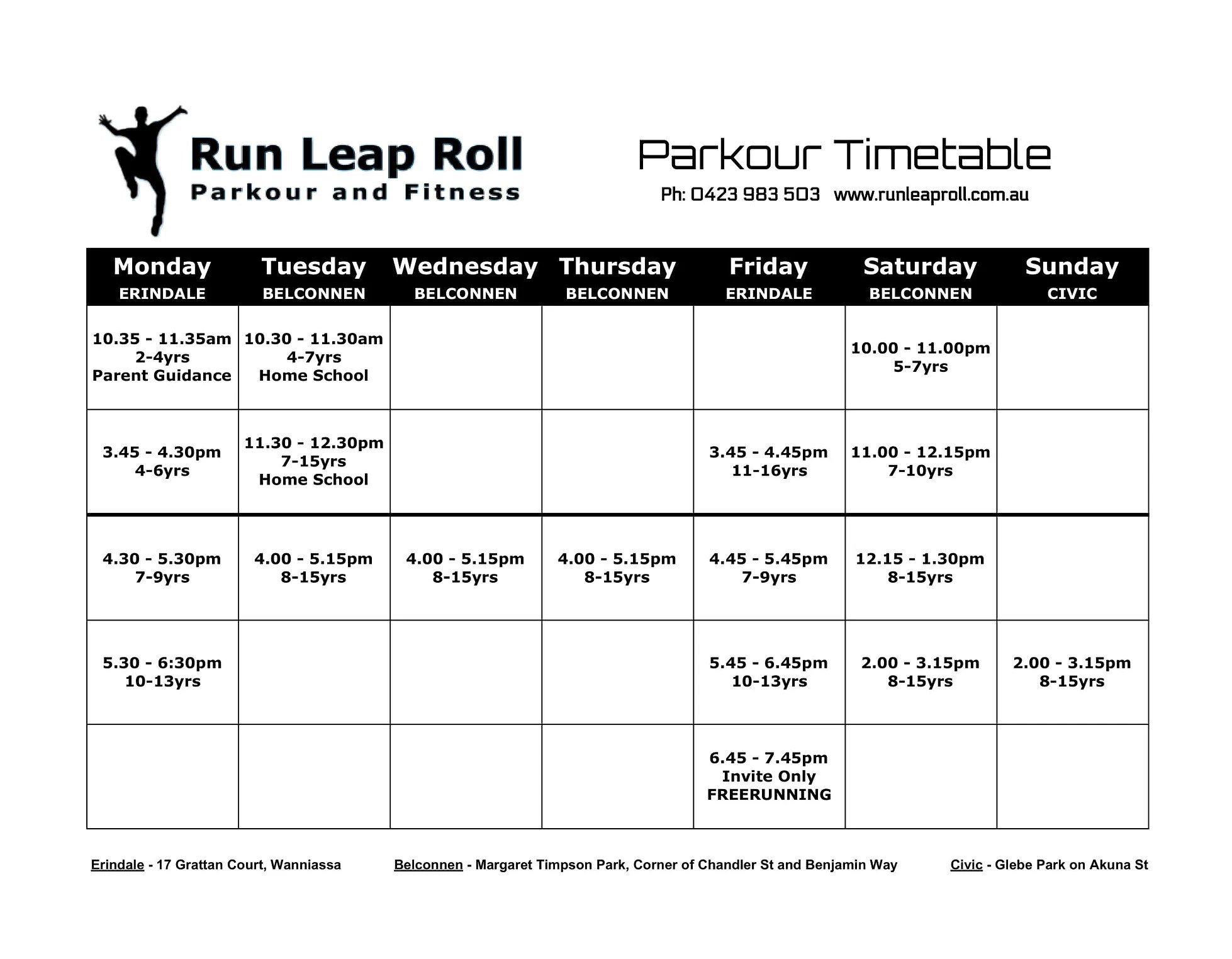 School Holidays Canberra Parkour Fitness Canberra Timetable Pricing