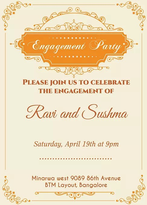 Indian Engagment/Betrothal Ceremony Invitation Wordings - engagement invitation matter