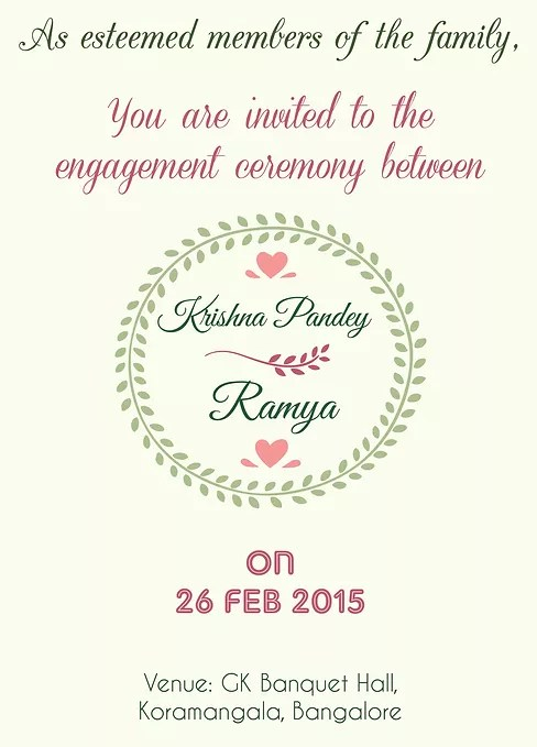Indian Engagment/Betrothal Ceremony Invitation Wordings - engagement invitation words